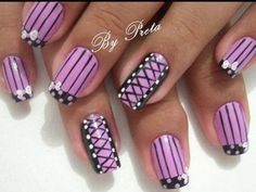 50 Most Stylish Corset Nail Art Designs Fancy Nails, Love Nails, Pretty Nails, Sexy Nails, Crazy Nails, Short Nail Designs, Cute Nail Designs, Corset Nails, Nail Polish Designs