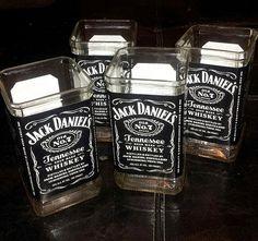 Recycled Jack Daniels Bottles Glass Set - 4 Hand Cut Tumblers - 2 Sets Left
