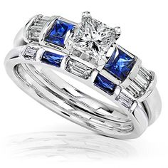 Blue Sapphire  Diamond Wedding Rings Set 1 14 Carat ctw In 14k White Gold -- Visit the image link more details.