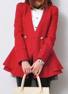 Red Long Sleeve Double Breasted Ruffles Coat pictures