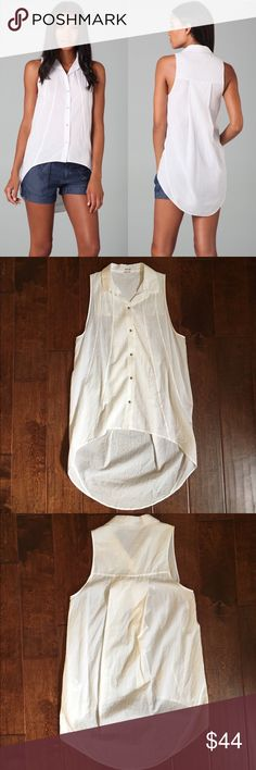 "Helmut Lang Hi Lo White Sleeveless Shirt This sleeveless cotton-voile top features a fold-over collar and a 5-button closure. Vertical seams at front and oversized box pleat at back. Asymmetrical hem. Semi-sheer. In great condition  * 23"" long, measured from front shoulder. * 31"" long, measured from back shoulder. * Fabrication: Cotton voile. * 100% cotton. * Wash cold. Helmut Lang Tops Button Down Shirts"