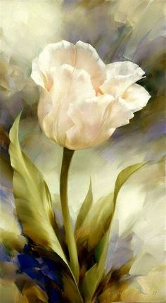 Tulip Painting, Flower Painting Canvas, Watercolor Flowers, Watercolor Paintings, Drawings Pinterest, Blue Canvas Art, Botanical Drawings, Arte Floral, Acrylic Art