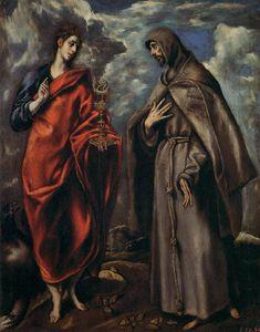 El Greco ~ De heiligen Johannes de Evangelist en Franciscus ~ ca. 1600 ~ Olieverf op doek ~ 110 x 86 cm. ~ Galleria degli Uffizi, Florence