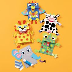 Paper Bag Puppet kits - these are from Land of Nod, but you could make a set with foam/felt stickers, glue and paper bags. Kids Crafts, Preschool Crafts, Arts And Crafts, Animal Projects, Animal Crafts, Projects For Kids, Paper Bag Crafts, Paper Bags, Paper Bag Puppets