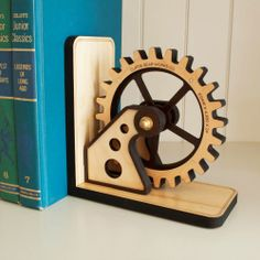 Steampunk Wooden Bookend - Industrial Chic Collection - Dot & Bo