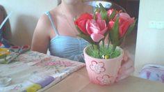 букет тюльпанов в горшочке!