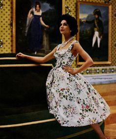 my vintage vogue (Dress by Carven Fifties Fashion, Retro Fashion, Vintage Fashion, Fifties Style, Vintage Style, 50s Vintage, Floral Fashion, Vintage Girls, Vintage Inspired Dresses