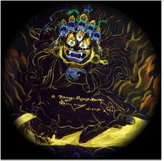 In Tibetan Buddhism, MAHAKALA is a devine deity who has the sacred task of preparing us to confront our inner most fears.  MAHAKALA reflects our shadow self challenging us to transmute ignorance and grow.  His Demonic appearance cast him in the role of Temple guardian. However, that effect is of our own Fearfulness as MAHAKALA is actually there to OPEN the gate for us.