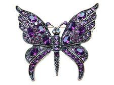 Vintage Inspired Repro Amethyst Purple Crystal Rhinestone Butterfly Pin Brooch