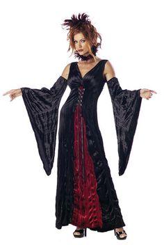 Ladies Black Vampire Lady Vamp fancy dress costume womens Halloween 12 14 16 18