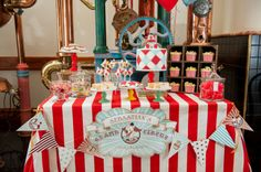 Vintage Circus Dessert Table {Finally, a cool and not-scary take on clowns}