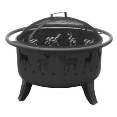 Patio Lights Deer Wood Burning Fire Pit With Spark Screen