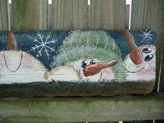 Hand Painted Primitive Wood Sign Home Decor Snowmen $40