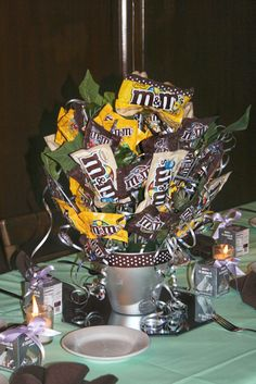 Chocolate centerpiece for Sweet 16 on Long Island, Sweet Bouquets Candy, Candy Boquets, Chocolate Centerpieces, Sweet 16 Centerpieces, Candy Bar Cards, Food Bouquet, Candy Arrangements, Candy Trees, Edible Bouquets