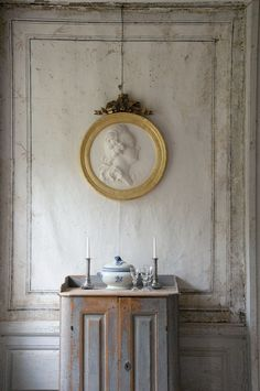 Swedish trompe l'oeil paneling sets the tone for this vignette. Submitted by @Feia Construction, LLC - Susie Feia