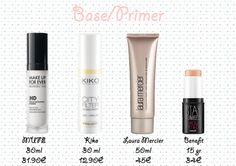 Base et primer, Base HD Base de Teint Microperfection Make Up for ever teinte 0 neutre, City Filter Sunscreen City Filter Sunscreen Kiko, Base Préparatoire de Maquillage de Laura Mercier, stay flawless Benefit
