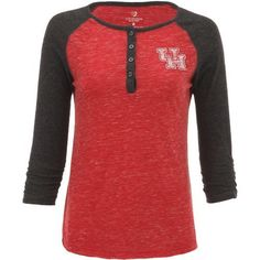 Colosseum Athletics Women's University of Houston Slopestyle 3/4 Sleeve Henley (Red, Size XX Large) - NCAA Licensed Product, NCAA Women's at Academ...