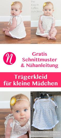 Trägerkleid für Babies - Freebook - PDF-Schnittmuster zum Ausdrucken - 6 - 18 Monate - mit Foto-Tutorial. Nähtalente - Magazin für kostenlose Schnittmuster. - Free sewing pattern for a nice sundress for little girls. Pattern for 6 - 12 month & 12 - 18 month.