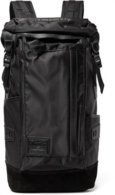 Master-Piece Potential Leather and Suede-Trimmed Canvas Backpack