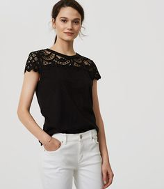 Image of Petite Lace Topped Tee color Black