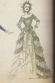 """Concept art by Colleen Atwood for Mrs. Lovett in her nouveau riche dress from """"Sweeney Todd: the Demon Barber of Fleet Street"""" (2007)."""
