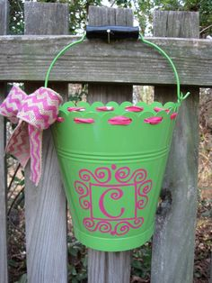 Personalized flower bucketassorted colors by twosisters76 on Etsy, $25.00