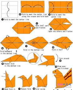 Squirrel origami instructions.