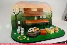 Here's a cake with a bench luverly!