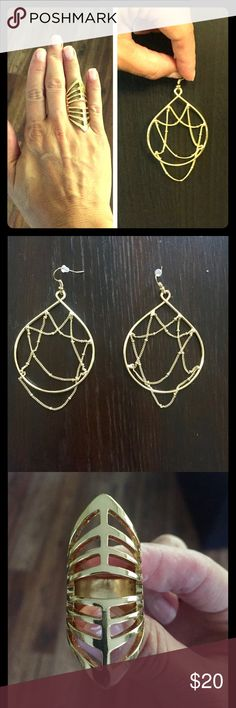 """Gold fashion necklace & earrings! Gold """"web"""" earrings! Great condition, no scratches! Originally $24. Reasonable offers accepted! Ring, No scratches! Worn once. Gold plated cage ring, size 7. Originally $30. Everything must go :) Jewelry"""
