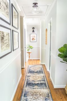 6 Tips to Decorate a Boring Hallway | blesserhouse.com - light gray painted walls in hallway with runner, wall decor, and plants