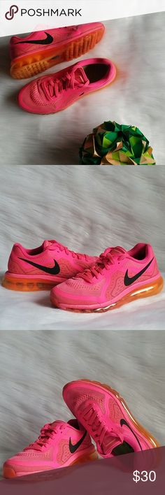 Nike Air Max Shoes Run fast and far in these running shoes by Nike in Hyper Pink/ Peach Cream/ Bright Mango/ Black color. Worn a handful of times. Without original box. Pieces of rubber have come off the bottom sole of both shoes (see photo #7), otherwise in good and clean condition. Great comfort and cushioning. Size 8. True to size. No trades or PayPal. Nike Shoes Sneakers