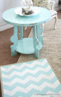 The House of Smiths - tutorial for making your own chevron* design on an inexpensive Ikea (etc) rug. Good if youre on a budget!