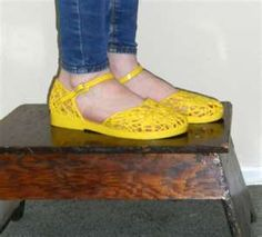 Vintage Shoes 80s Yellow Jellies Flat Jelly Shoes
