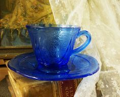 hooked on depression glass royal lace teacup by BeJoyfulVintage, $30.00