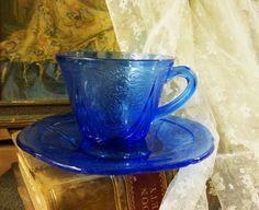 hooked on depression glass royal lace teacup by BeJoyfulVintage, $30.00