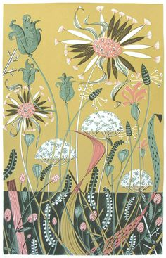 From Norfolk England's Angie Lewin, Wild Garden II. Love her colours and her 50's illustrator style.