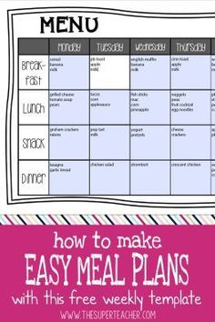 DownloadableEditable Monthly Meal PlansBy Confessions Of A