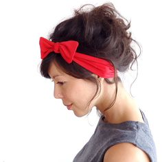 Red Lycra Skinny Bow Tie Headband ($16) ❤ liked on Polyvore