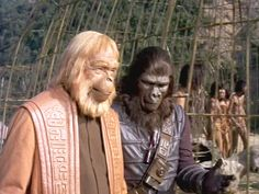 Dr. Zaius and the hunt leader confer on the Planet of the Apes