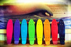 Penny skateboards in every color of the rainbow