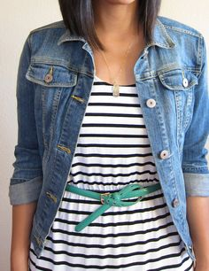 I would wear without the belt, and with a striped tee instead of dress