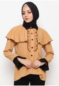 Wanita > Baju Muslim > Atasan Muslim > Blouse Muslim > Bianca Cape Layer Shirt Brown > Ellysa