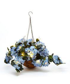 Another great find on #zulily! Blue Hydrangea LED Hanging Basket Arrangement #zulilyfinds
