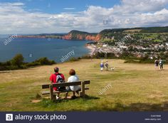 View from Salcombe Hill to town and red cliffs, Sidmouth, Devon Stock Photo, Royalty Free Image: 50643205 - Alamy