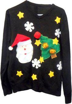 amazoncom ugly adult christmas sweater with stars santa and christmas tree black - Black Ugly Christmas Sweater