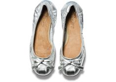 TOMS+ Perforated Metallic Silver Ballet Flats top