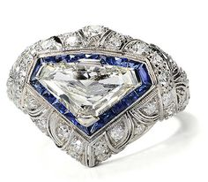 Magnificent diamond and sapphire ring