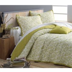 Reversible Quilted Bedspread with Diamond Stitching Ecru white/pistachio+White/ecru/taupe+Ecru white/grey