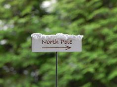 Fairy Garden miniature accessories Sign North Pole with arrow right facing on Etsy, $5.50