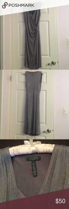 Lauren Ralph Lauren Dress-size small Gorgeous dress worn 2 times. It's silver metallic in color. Dress has a gray slip worn underneath. No returns and non negotiable. Lauren Ralph Lauren Dresses Midi